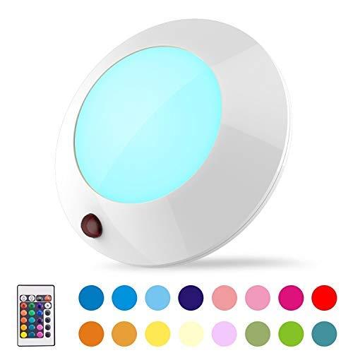HONWELL LED Deckenleuchte RGB Stimmungslichter mit Fernbedienung, Batteriebetriebenes Licht Dimmbar Deckenspot Bunt Badlampe 16 Farbwechsel Lampe für Wohnzimmer Schlafzimmer Küchen Flur Deko Ø: 12.7cm