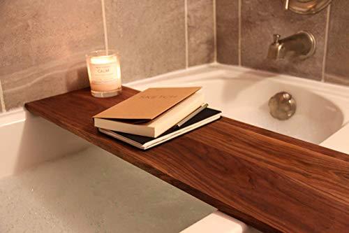 Handmade Solid Wood Bath Tray Fits Standard Size Tubs, Free Shipping, Adjustable Wooden Bath Caddy, Bathtub Caddy Tray, Luxury Bath Shelf, Gift For Her, Made in Detroit USA