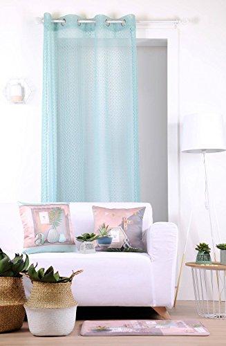 Lovely Casa Homa Voile, Polyester, Celadon, 140x260 cm