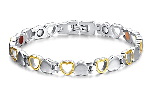 Titanium Magnetic Bracelet Heart Hollow Design Link Stylish Magnet Bracelets for Women,4 Colors to Choose, 8.3 Inches Adjustable (Silver+Gold)