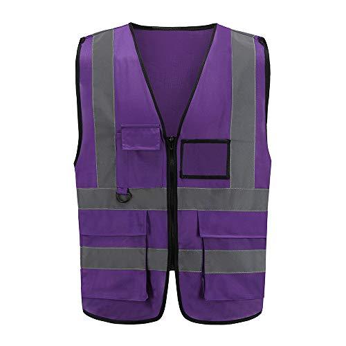 9 kleuren, uniseks, hoge zichtbaarheid, reflecterende vest, ritssluiting. L lila