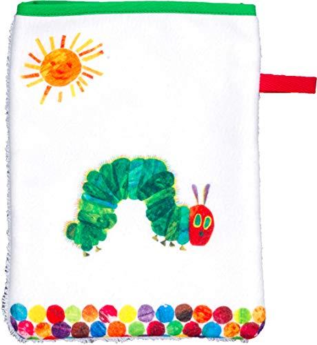 Smithy Waschlappen aus 100% feinster Baumwolle – Öko Tex 100 zertifizierter schadstofffreier Waschhandschuh mit Original Raupe Nimmersatt aus dem beliebten Kinderbuch