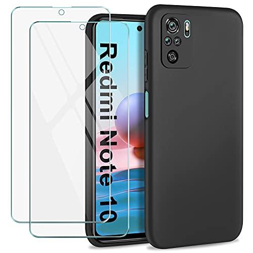 SOGUDE Hülle für Xiaomi Redmi Note 10 4G/ Note 10S Hülle + 2 Stück Schutzfolie Panzerglas, Weiches TPU Silikon Schutzhülle Hülle Cover für Xiaomi Redmi Note 10 4G/ Note 10S - Schwarz