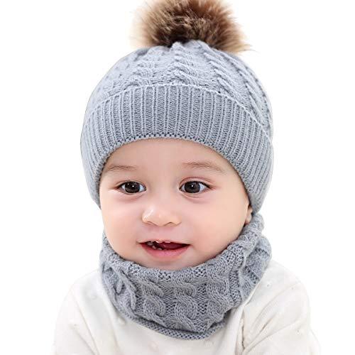 Yunnyp Gorro de bebé + Traje de Babero Nuevo niño pequeño niños niña niño bebé bebé Invierno cálido Crochet Gorro de Punto Gorro Gorro