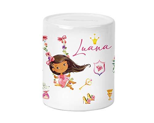 Yuweli Prinzessin auf Schaukel #Kinder-Spardose für Mädchen mit Namen personalisiert zur Einschulung Taufe Geburtstag Geburt Sparschwein Geldgeschenk (Schwarze Haare)