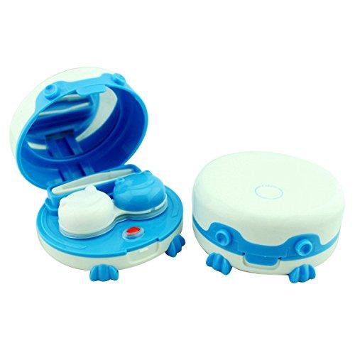 ROSENICE Kontaktlinsen Reiniger Kontaktlinsenbehälter Tägliche Pflege Tragbare Ultraschall-Reinigungsgerät mit Spiegel und Pinzette