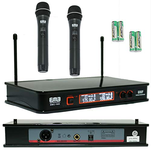 EMB EMIC-1600 Audio 2 Channel Quad UHF Handheld Wireless Microphone System with Mic, Receiver & Power Adapter Perfect for Vocal Lesson / Karaoke / Studio / Live Gig