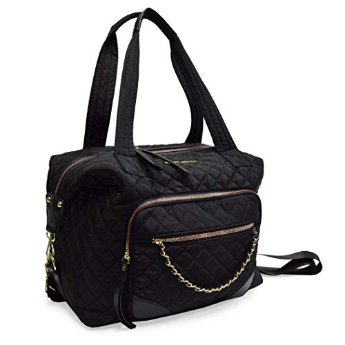 Adrienne Vittadini Diamond Quilted Duffel Tote Camera Bag Collection for Travel Sports School College (DUFFEL-BLACK)