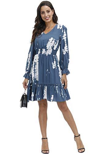 BUENOS NINOS Women Casual Long Ruffle Sleeve Dresses Elastic Waist Loose Tunic Dress Tie Dye Grey S