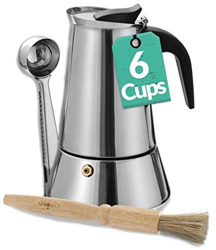 Caffettiera Moka per 6 Tazze - Con Pennellino di Pulizia e Misurino Dosatore - Adatta all'Induzione - Acciaio Inox