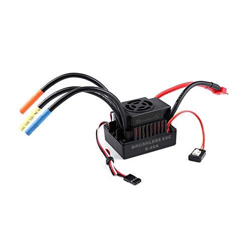 Drfeify ESC 80A, Controlador de Velocidad Eléctrico ESC sin Escobillas Impermeable para 1/10 1/8 RC Coche