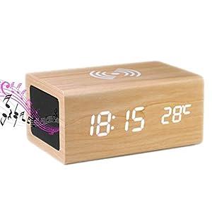 【2021年最新】めざまし時計 おしゃれ 置時計 高音質スピーカー付き 温度計 携帯 スマホ ワイヤレス充電 1台4役 デジタル時計 木目調 インデリアクロック 多機能 置き時計 USB給電式 プレゼント用 技適認証済み (自然な木目)