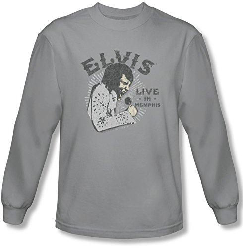 Elvis Presley - - pour Hommes Live in Memphis T-Shirt à Manches Longues, XX-Large, Silver