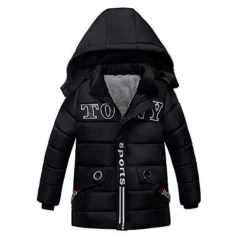 HUHU833 Baby Kapuzen Mantel Kinder Daunenmantel Baby Jungen Mädchen dicken Mantel gepolsterte Winterjacke Kleidung (Schwarz, 2-3Jahre)