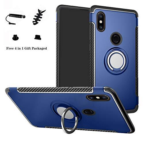 LFDZ Xiaomi Mi Mix 2S Anillo Soporte Funda, 360 Grados Giratorio Ring Grip con Gel TPU Case Carcasa Fundas para Xiaomi Mi Mix 2S Smartphone (Not fit Xiaomi Mi Mix 2),Azul