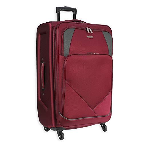 4 Wheel Spinner Soft Shell Medium Suitcase Luggage Travel Bag AR800 (24' Medium (H66xW40xD27 cm), Burgundy)