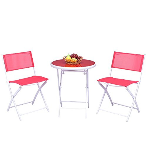 Giantex 3 PCS Folding Bistro Table Chairs Set Garden Backyard Patio Outdoor Furniture (Red)