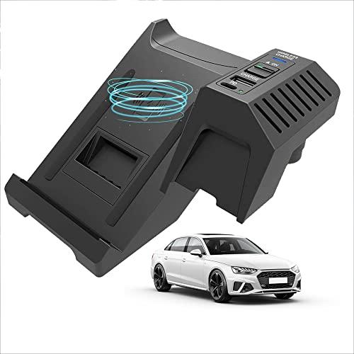 Actualización 2021 para Audi (2017-2021) A4/S4/RS4/A5/S5/RS5 Todos los modelos Cargador Inalámbrico Coche Panel Accesorios la Consola Central, Teléfono Carga Rápida 15 W Qi con QC3.0 USB para iPhone