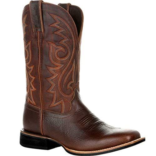 Stivali da Cowboy da Uomo Stivali a metà Polpaccio Vintage Slip-on Ricamo Modello Diviso Punta a Punta...