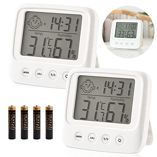 Hygrometer Innen,Hygrometer mit Uhr 2 Stück,Thermometer Innen,Digitales Hygrometer,Digital Hygrometer Innen,Thermometer mit Luftfeuchtigkeit,Raumthermometer Luftfeuchtigkeits,Feuchtigkeit Hygrometer
