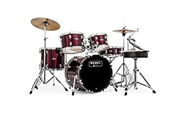 Mapex RB5844FTCDR Rebel 5-Piece Drum Set with Hardware Cymbals and 22  Bass Drum - Dark Red