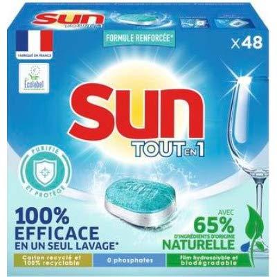 SUN Sun todo en 1 pastillas para lavavajillas purifica y protege 48 estantes.