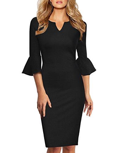 KOJOOIN Damen Etuikleid Business Kleider Bodycon Cocktailkleid Bleistiftkleid Geschäft Figurbetonte Knielang Kleider Langram Schwarz XXL