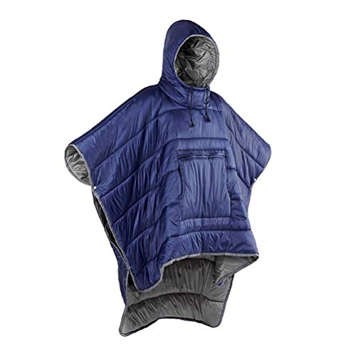 WYJW Saco de Dormir para Adultos - Manta con Capucha, Poncho portátil al Aire Libre Poncho Abrigo cálido, Capa Impermeable Resistente al Viento para climas fríos al Aire Libre, Uso en e