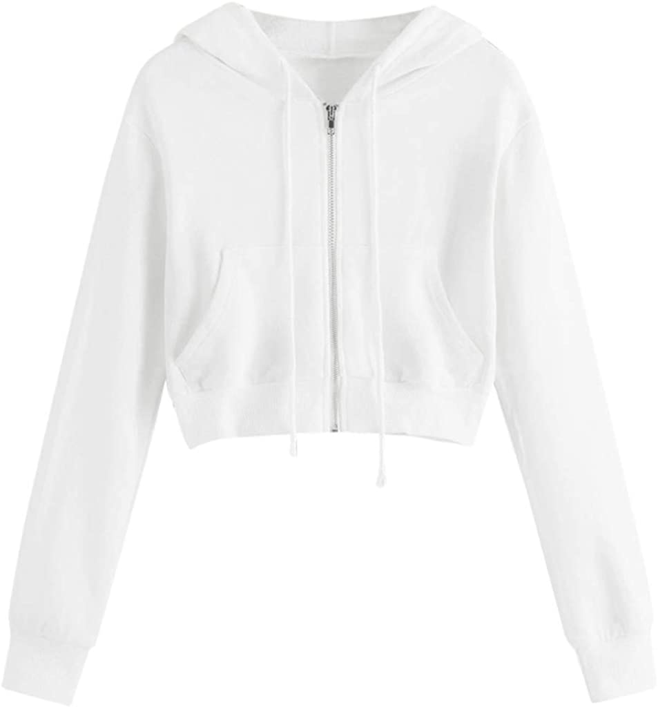 Women Casual Long Sleeve Hoodies Loose Fit Zipper Soft Sweatshirt Tops Solid Pocket Short Outwear Pullover