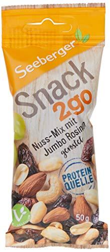 Seeberger Snack2Go Nuss-Mix mit Jumbo Rosinen geröstet, 12er Pack (12 x 50 g)