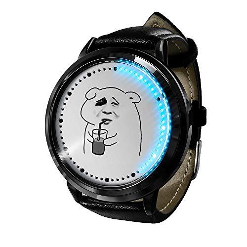 Lustige Chat-BilderSerie, LED-Uhr wasserdichte analoge Quarzuhr Edelstahl Lederarmband Uhr Modeuhr Unisex Boy Girl Geschenk-A3