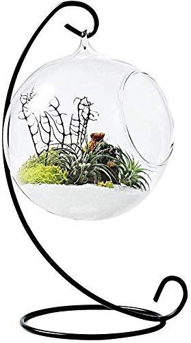 HIGHKAS Garten Ornamente Eisen Glasvase Hängen Stehen S Form Metall Pflanze Terrarium Haken Rack Glas Blume Pflanzer Halter Display Hausgarten Hochzeit Party Decor (Größe: 4)