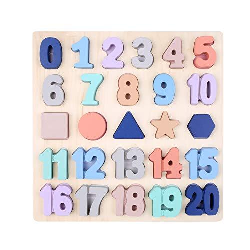 Fesjoy Rompecabezas de números de Madera,Rompecabezas de números de Madera para niños pequeños Rompecabezas de Formas de Madera Juguetes de Tablero de Aprendizaje Educativo de Madera Preescolar