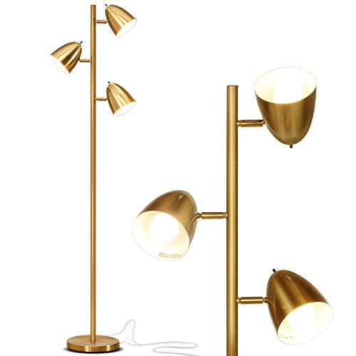 Brightech Jacob - LED Reading and Floor Lamp for Living Rooms & Bedrooms - Classy, Mid Century Modern Adjustable 3 Light Tree - Standing Tall Pole Lamp with 3 LED Bulbs - Antique Brass / Gold