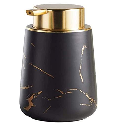 FülleMore Seifenspender Marmor Optik Spülmittelspender aus Keramik, 400ml wiederbefüllbar Shampoospender Pumpseifenspender für Küche Badezimmer Shampoo Öle Lotionen (Schwarz)