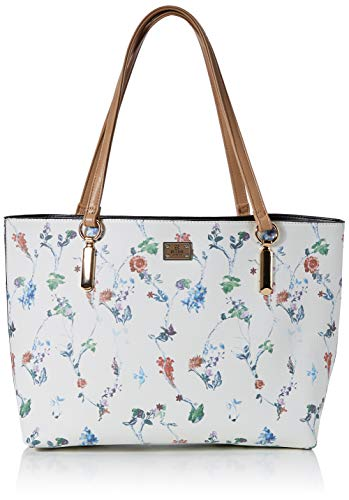 Bessie LondonLarge Floral Print Bag In Bag ShopperDamenSchultertascheWeiß (Tan)11x35x38 Centimeters (W x H x L)
