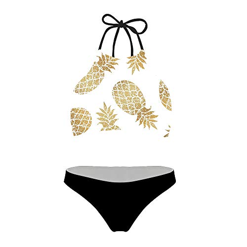 chaqlin Women Girls Swimsuit Two Pieces BikiniSet Quick Dry Swimwear Plus Size Bathing Suits Low Waisted Swimsuits Pineapple Pattern Size S