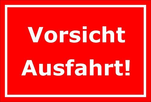Melis Folienwerkstatt Schild - Vorsicht Ausfahrt - 30x20cm | 3mm Aluverbund – S00065-098-D -20 VAR