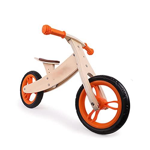 Jiyagshu Bicicleta De Madera para Niños, Andador para Bebe, Correpasillos para Equilibrio, Sillín Ajustable, Bicicleta Iniciación, Bicicleta Niños 2 a 6 Años, Bicicleta Sin Pedales De Madera
