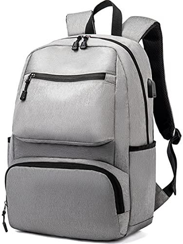 Zaino Per PC Portatil, Zaino Laptop Packable Con Caricatore USB Camping Zaino Escursionismo Daypack Multitasche Impermeabile Adatto Per laptop da 15.6 Pollici Donna Uomo, 17.3 Pollici Grigio