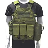 DMAIP Hunting Molle Tactical Vest Combat Security Training Tool Pouch Modoular Protective Durable Waistcoat for Outdoor Paintball CS Game Airsoft Climbing Hiking (Army Green)