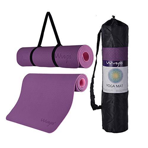 esterilla deporte, esterilla yoga Wueps, incluye correa de hombro y bolsa de transporte, ideal para realizar deporte en casa, yoga mat, esterilla yoga antideslizante, (Color Morado y Rosa)