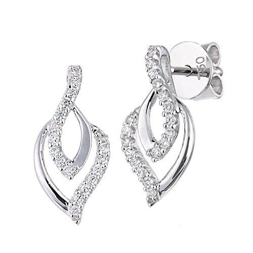 Naava Damen-Ohrringe 750 Weißgold Diamant 18 karat weiß Rundschliff