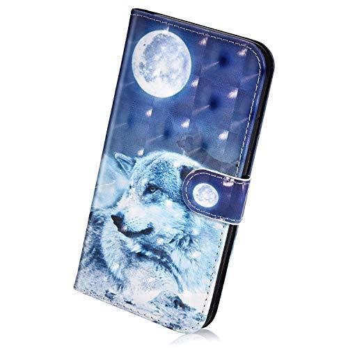 Herbests Kompatibel mit Samsung Galaxy A9 2018 Handyhülle Hülle Flip Case Bunt Glitzer Muster Leder Schutzhülle Klappbar Bookstyle Lederhülle Ledertasche mit Magnet Kartenfach,Wolf Mond