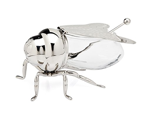 Beautiful Silver Plated Bee Honey Jar with little paddle, Novelty Bee Honey Pot