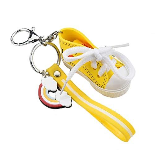 Netter I-Liebe, Die Sie Drucken Mini-leinwand-Schuhe Schlüsselanhänger Gestreifte Leder-Seil-Turnschuhe Keyring Paar-Geschenk-Beutel-anhänger