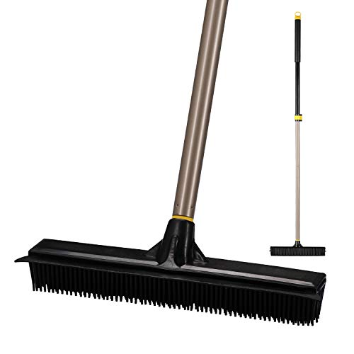 Yocada Rubber Broom Pet Hair Fur Removal Broom Soft Bristle Push Broom with Squeegee Carpet Sweeper Floor Squeegee Heavy Duty with Telescoping Pole 42-53 Inch for Bathroom Living Room Kitchen