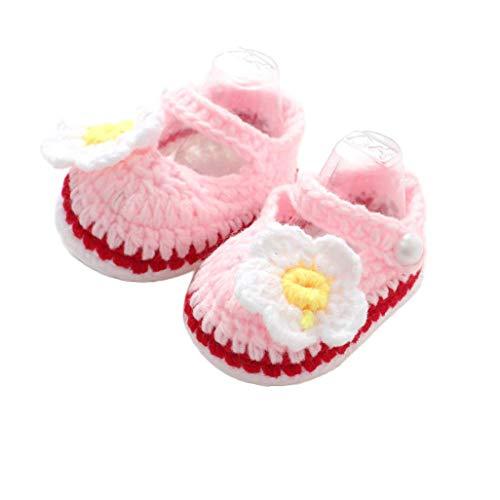 Caerling Baby Mädchen Lauflernschuhe Sandalen gehäkelt Schuhe Kleinkind Süß Gestrickte Schuhe Kinder Krabbelschuhe mit Blume Dekoration