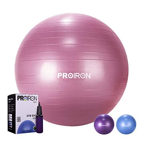 PROIRON Ballon de Fitness Suisse Epais Exercice de Yoga Gym Stabilité Anti-Explosion avec Pompe à Main 75cm Rouge