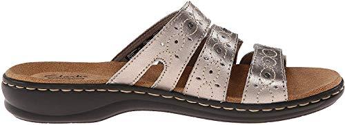 Clarks Women's Leisa Cacti Slide Sandal, Pewter Leather, 7.5 W US